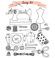 Sewing hand drawn kit vector image
