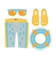 slippers shorts sun glasses and lifebuoy in vector image vector image