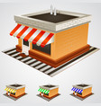 Store building with striped awning
