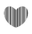 striped heart bar code heart vector image vector image
