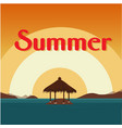 summer beach bungalow on island sunset background vector image vector image
