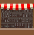 supermarket wooden showcase vector image vector image
