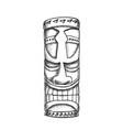 tiki idol hawaiian wooden statue monochrome vector image