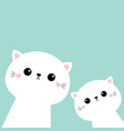 two cat kitten set cute kawaii kitty animal vector image vector image