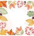 watercolor autumn fall leaves wreath frame square vector image vector image