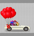white cartoon cabriolet car full of gift boxes vector image