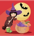 wizard girl mystic halloween cartoon vector image