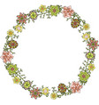 wreath with green pink and yellow flowers vector image vector image