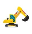 Yellow excavator special machinery vehicle loader vector image