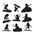 Snowboarder jump silhouette in different pose vector image