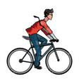 drawing young man riding bicyle with suit and vector image