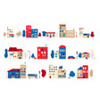 a set small houses in a toy flat style vector image