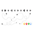 airplane path plane silhouettes with route vector image