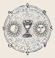 banner with grail and esoteric symbols vector image vector image