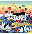 beautiful bright a wild cat in jungle vector image