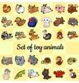 big set soft toy animals 30 different icons vector image