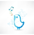 Bird singing grunge icon vector image vector image