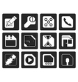 Black Mobile Phone Computer and Internet Icons vector image vector image