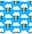 Blue sky with rainbows and clouds seamless pattern vector image vector image