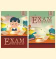 boy solve test pass exam in school cartoon posters vector image vector image