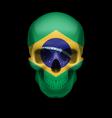 brazilian flag skull vector image vector image