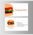 burger business card template for shop vector image