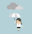 businesswoman under an umbrella in the rain vector image vector image