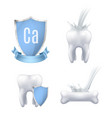 calcium protection realistic set vector image