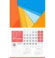 Calendar for 2016 Year September Design Clean vector image