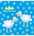 card two sheep for the new year vector image vector image