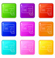 cardiograph icons set 9 color collection vector image vector image