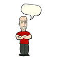 cartoon angry man with mustache with speech bubble vector image vector image