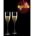 champagne filled flutes under a sparkling red disc vector image vector image