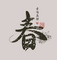 chinese characters spring happiness truth vector image