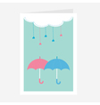 Cloud with hanging heart rain drops and two vector image vector image