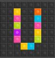 colorful brick block letter v flat design vector image vector image
