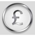 Concept metallic pound symbol logo button vector image vector image