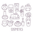 cosmetics hand drawn doodle set vector image