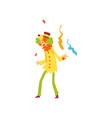 cute funny clown performing at birthday carnival vector image vector image