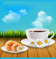 daisy realistic breakfast composition vector image vector image
