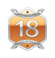 Eighteen years anniversary celebration silver logo vector image vector image