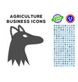 fox head icon with agriculture set vector image