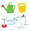 garden equipment water can faucet sprinkle vector image vector image