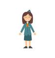 girl stewardess character in blue uniform kid vector image vector image