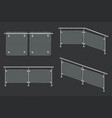 glass balustrade with iron banister vector image vector image