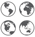 globe different continents in a flat style vector image vector image