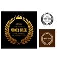 Golden Money back guarantee labels vector image