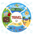 hand drawn summer vacation round concept vector image vector image