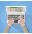 Hands on laptop keyboard vector image vector image