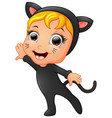 happy little girl wearing cat costume vector image vector image